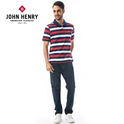 【JOHN HENRY】配色橫條短袖POLO衫-兩色選