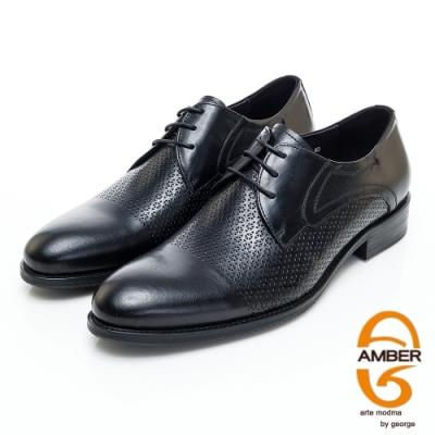 AMBER商務時尚高質感打洞雕花真皮紳士鞋-黑色