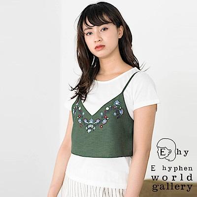 E hyphen SET ITEM 彩色刺繡短版背心+素色短袖T恤