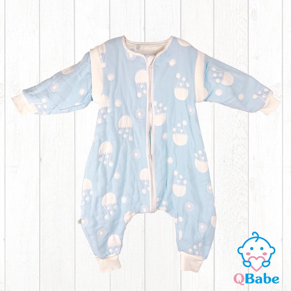 QBabe 全棉六層紗 連身拉鍊褲款防踢被(可拆袖)-藍色水母