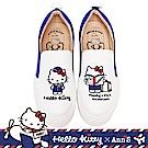 HELLO KITTY X Ann'S一起去旅行雙色小尾巴刺繡厚底懶人鞋-藍白