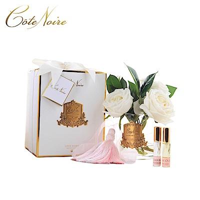 法國 CoteNoire 蔻特蘭 象牙白山茶玫瑰香氛花透明瓶