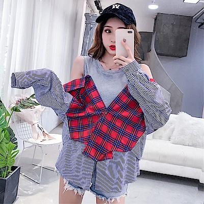 DABI 韓國學院風襯衫文藝格子條紋拼接長袖上衣