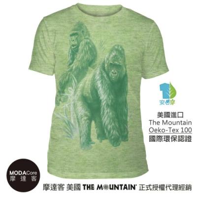 摩達客-美國The Mountain都會系列 非洲大猩猩綠底 中性修身短袖T恤