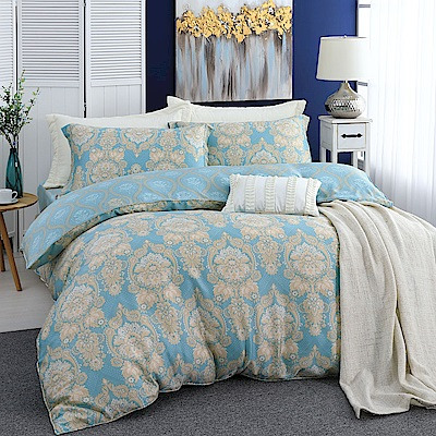 LASOL睡眠屋-300織/100%奧地利天絲 雙人兩用被床包四件組 碧映風華
