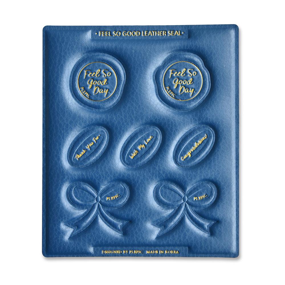 PLEPIC 好經典皮革蠟封章封口貼紙組-皇家藍