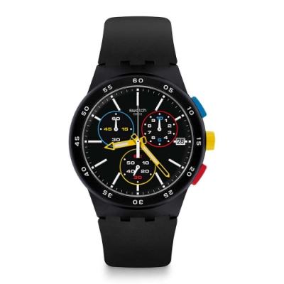 Swatch Bau 包浩斯系列手錶 BLACK-ONE 黑色純粹 -42mm