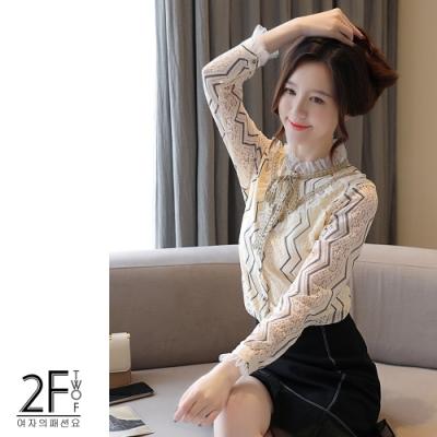 2F韓衣-韓系木耳邊繫帶領口造型內毛絨上衣-杏色(S-2XL)