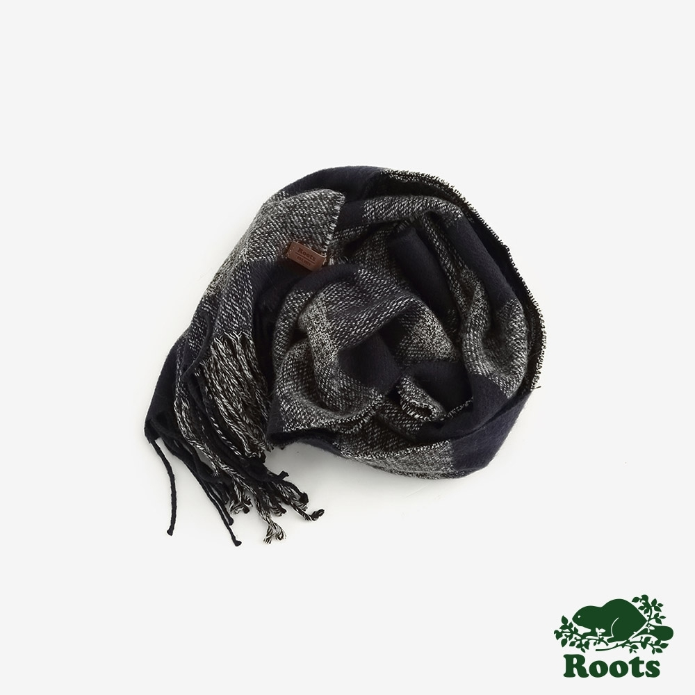 ROOTS 配件-  經典格紋長條圍巾-藍