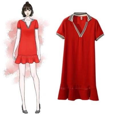 中大尺碼海軍風V領條紋襯衫領拼接魚尾裙擺洋裝XL~4L-Ballet Dolly