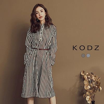 東京著衣-KODZ 一秒出門時尚直條紋長版洋裝-S.M.L(共二色)