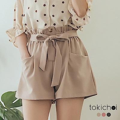 東京著衣-活力輕鬆鬆緊荷葉腰頭綁帶雪紡多色短褲(共三色)