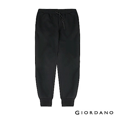 GIORDANO 女裝G-MOTION系列內植絨休閒運動束口褲-05 標誌黑