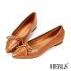 HERLS平底鞋-蝴蝶結石頭紋尖頭平底鞋-棕色 product thumbnail 1