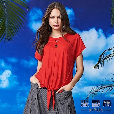 【麥雪爾】棉質圓環吊飾綁帶造型上衣-紅