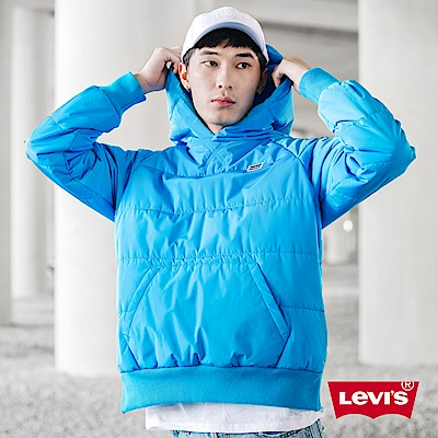 Levis 男款 帽T式鋪棉外套 聚脂纖維填充 側邊拉鍊 藍色微漸層