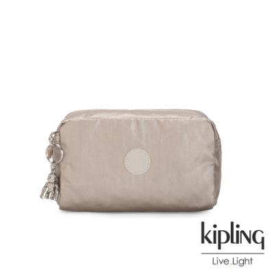 Kipling 都會時尚霧玫瑰金長形化妝包-GLEAM