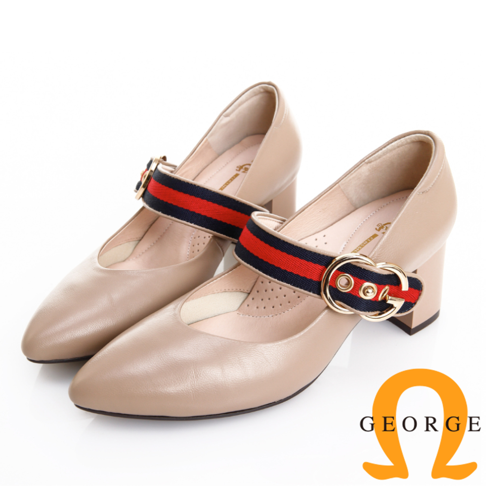 GEORGE 喬治皮鞋 簡約時尚 配色織帶真皮粗跟鞋 -奶茶色