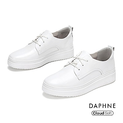 達芙妮DAPHNE 休閒鞋-真皮綁帶拚接厚底休閒鞋-白色