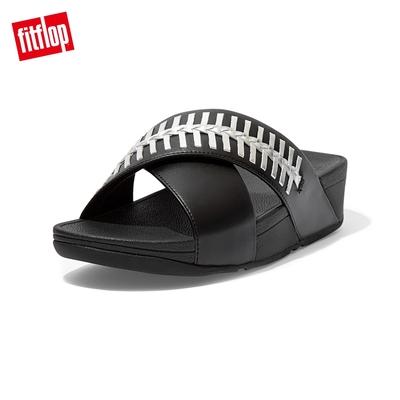 FitFlop LULU WRAPPED WEAVE SLIDES 金屬色編織造型交叉雙帶涼鞋-女(黑色)