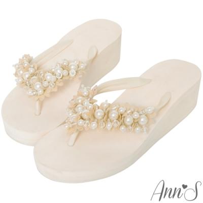 Ann'S浪漫花瓣珍珠厚底夾腳涼拖鞋