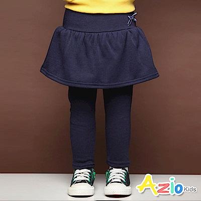 Azio Kids 長褲 蝴蝶結假兩件荷葉裙不倒絨內搭長褲(寶藍)