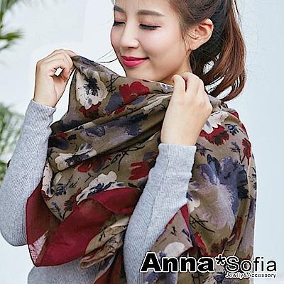 AnnaSofia 古典花繪染 拷克邊韓國棉圍巾披肩(深酒紅咖)
