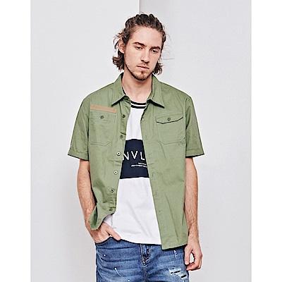 NAVY-斜紋短袖軍襯衫(兩色)-男【SNA061】