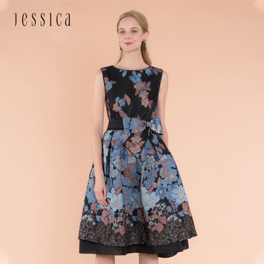JESSICA - 復古優雅立體印花收腰蝴蝶結設計禮服洋裝