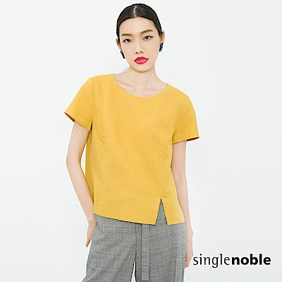 獨身貴族 簡約主義側開衩棉麻設計上衣(3色)