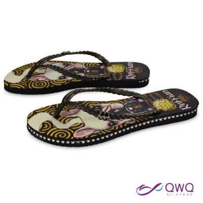 QWQ 女款插圖夾腳人字拖鞋-鞋帶保固-水鑽拖鞋-造型拖鞋-Ruffian Dog-黑(ADST03205)