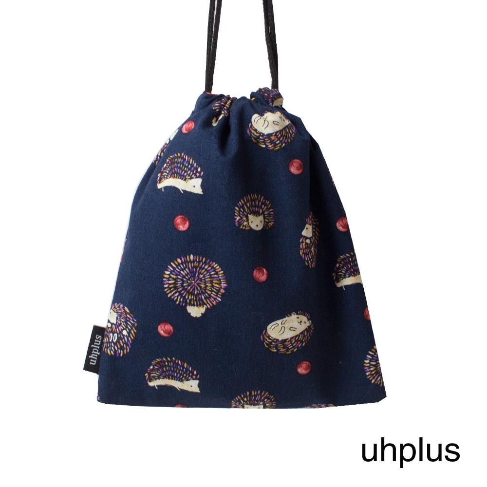uhplus 迷你束口袋-蘋果刺蝟(藍)