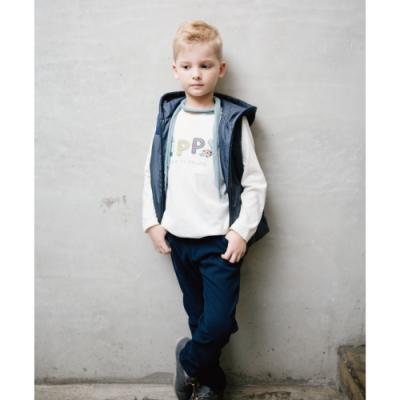 PIPPY 平織彈性 格紋長褲 藍色