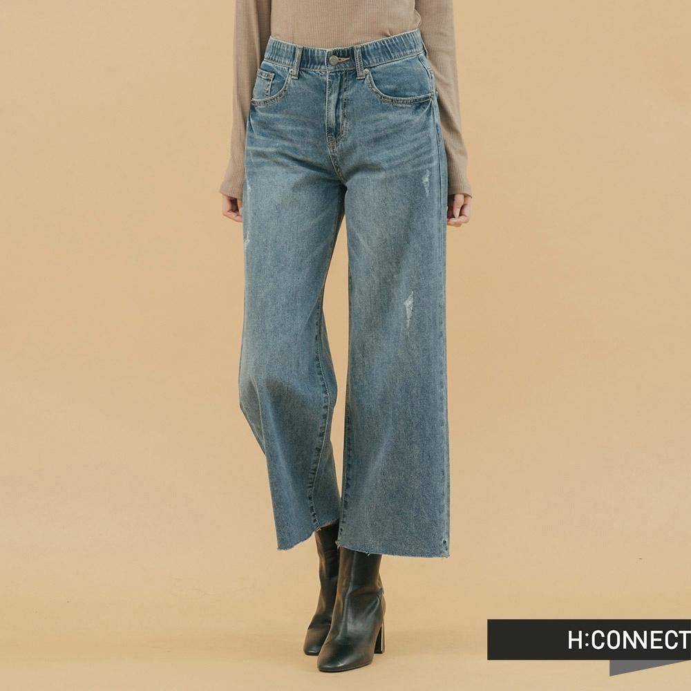 H:CONNECT 韓國品牌 女裝 - 隨性鬆緊牛仔寬褲-藍