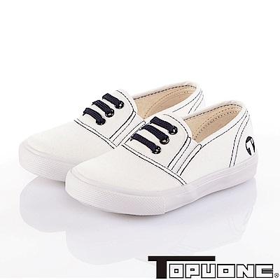 (雙11)TOPUONE 學院風舒適輕量帆布懶人鞋童鞋-白