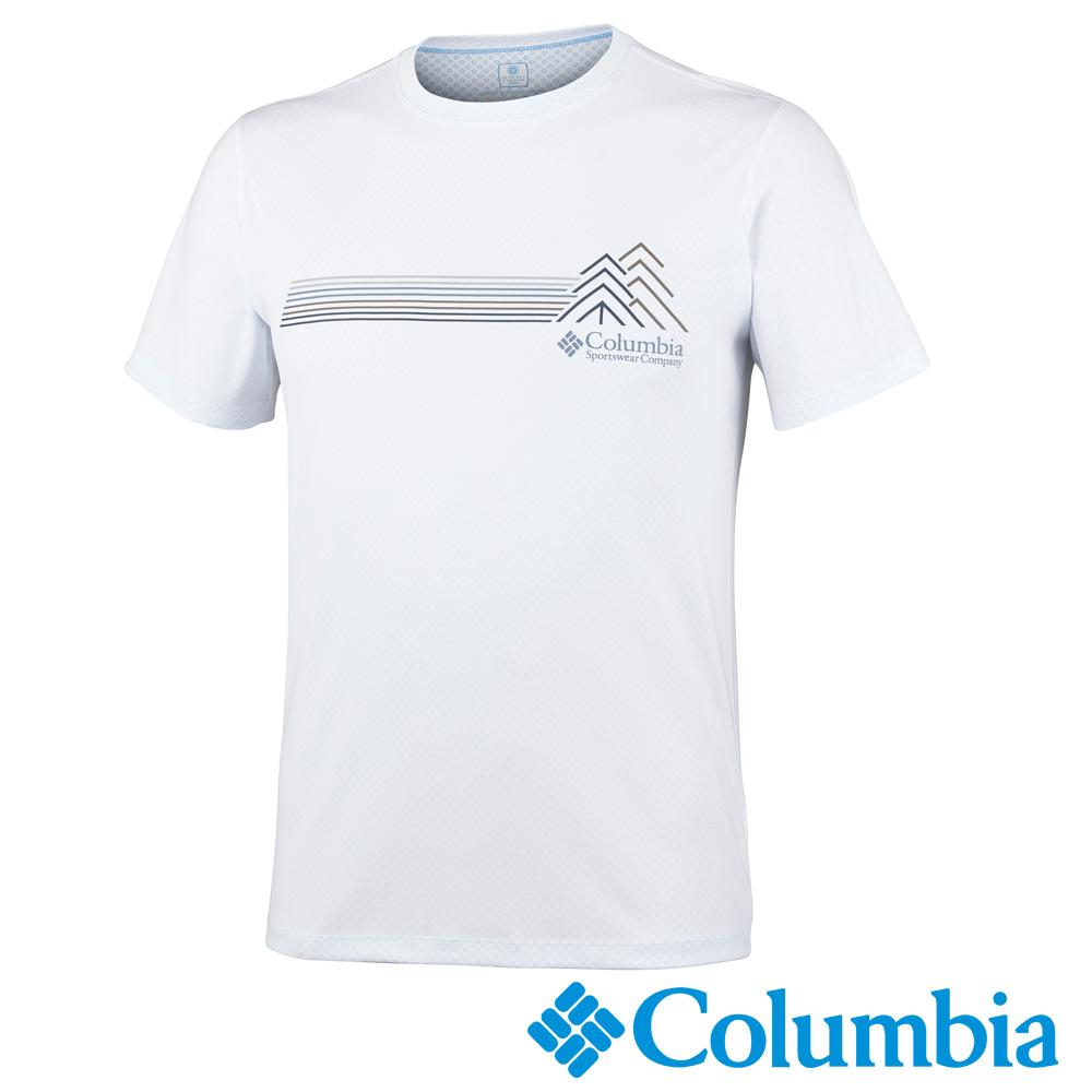Columbia哥倫比亞 男-防曬30涼感快排短袖上衣白色-UAE64630WT