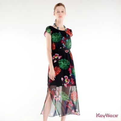KeyWear奇威名品    熱帶印花長版洋裝-深藍色