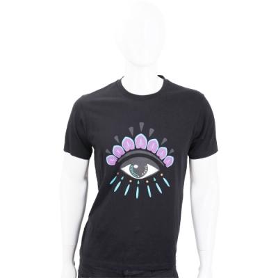KENZO Eye 撞色眼睛印花黑色棉質T恤(男款)