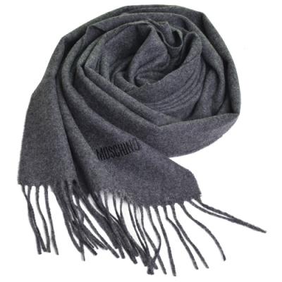 MOSCHINO 義大利製美麗諾羊毛字母LOGO刺繡高質感羊毛圍巾(深灰色)