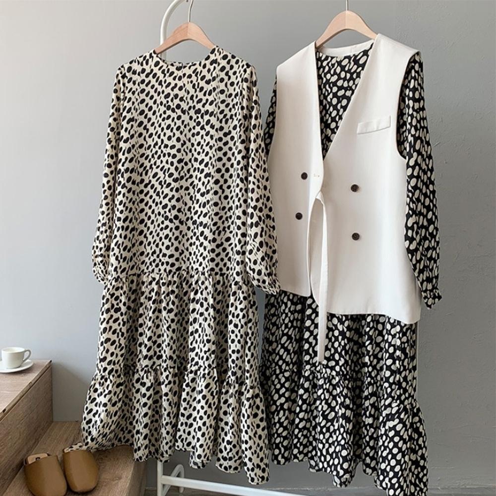 知性系列氣質中長韓版新款長袖雪紡長洋裝兩色可選-設計所在