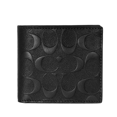 COACH黑色荔枝紋皮革浮印C Logo四卡零錢袋男夾