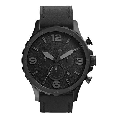 FOSSIL 重裝教士三眼運動計時皮帶腕錶-IP黑/50mm
