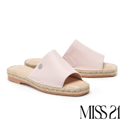 拖鞋 MISS 21 簡約率性清新涼感草編厚底拖鞋-粉