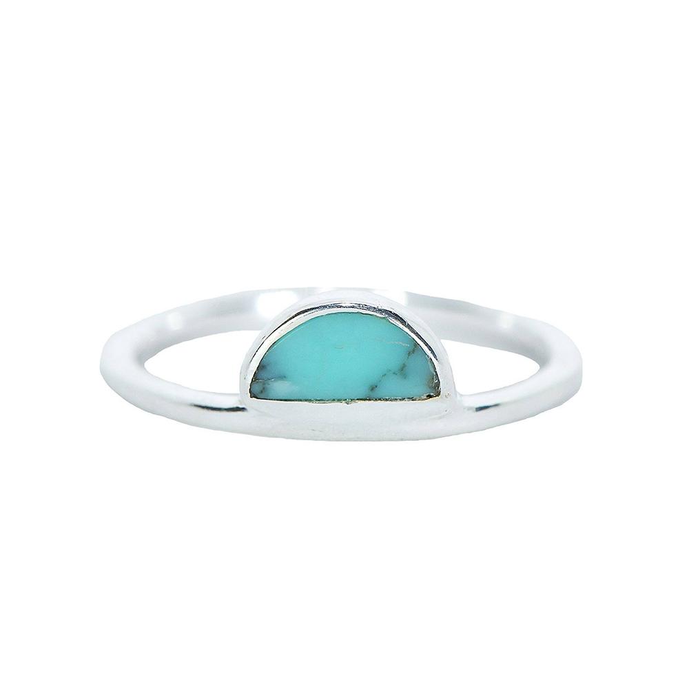 Pura Vida 美國手工 半月綠松石銀色純銀戒指