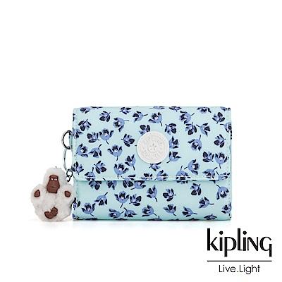 Kipling 典雅淡藍小花暗釦翻蓋多夾層短夾-PIXI