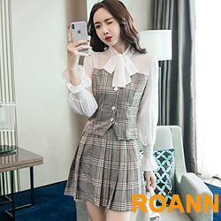OL慵懶風拼接格紋兩件式裙套裝 (格紋)-ROANN