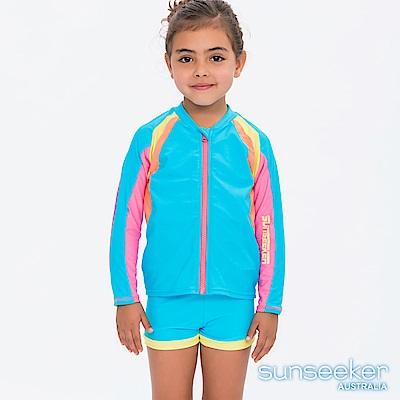 澳洲Sunseeker泳裝抗UV防曬運動長袖拉鍊泳衣外套-小女童水藍