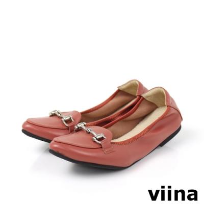 viina 尖頭馬銜釦摺疊娃娃鞋-磚紅