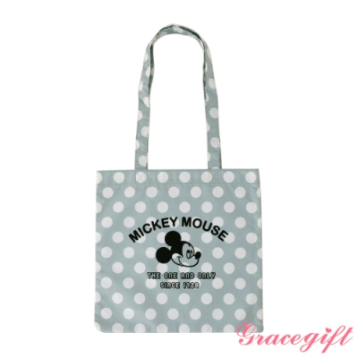 Disney collection by gracegift米奇絨布壓紋托特袋 灰