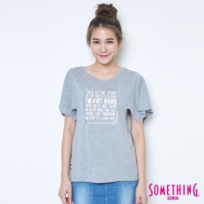 SOMETHING 寬袖時尚造型T恤-女-麻灰